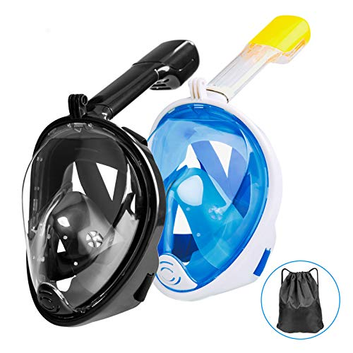 Omew Full Face Snorkeling Mask, 2 Pack Easy Breathing Snorkel Mask Snorkeling Set, 180° Seaview Anti-fog Anti-leak Design Swimming Diving Masks with Action Camera Mount for Adults (Black,Blue)