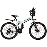 ANCHEER 26' Folding Electric Bikes for Adult, 26 inch Foldable Electric Commuter Bicycle with 250W Motor 36V 8Ah Lithium Battery 21-speed Gear Double Disc Brakes (White)