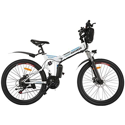 ANCHEER Bici Elettriche 26' per Adulti, Bici Pendolare Elettrica Pieghevole con Motore 250W Batteria al Litio 36V 8Ah Cambio a 21 Velocità (bianca)
