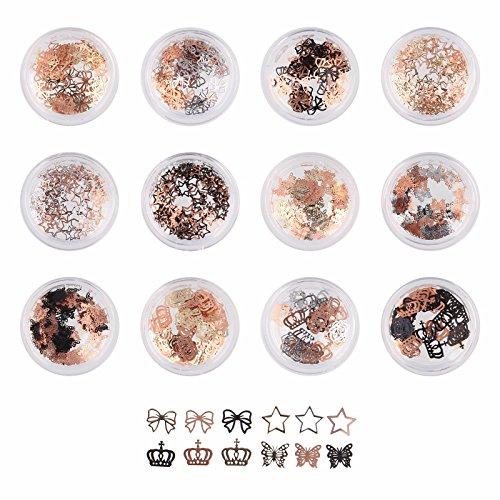 Beauty7 N?ud Papillon 3D Etoile Gel Acrylique Feuille De Puce Paillette Art D'or En Paillettes UV Papier D¨¦cor Bricolage Pour Decoration Ongles Nail Art Manucure 12 pot