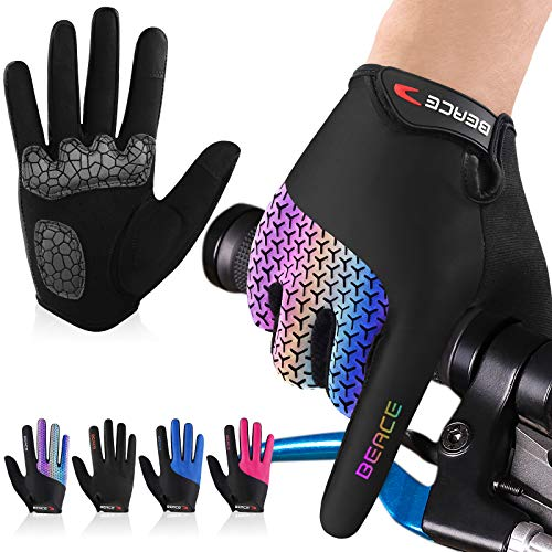 BEACE Cycling Gloves Bike Gloves Biking Gloves for Women(Colorful Night Glow) with Touch Screen-Full Finger Road Gloves Mountain Bike Gloves Anti-Slip Silicone Palm
