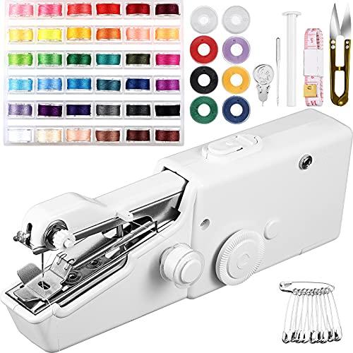 61 Pieces Hand Sewing Machine, Mini Handheld Sewing Machine Electric Handy Sewing Machine Single Handheld Sewing Machine with Sewing Threads Tools for DIY Clothes Fabrics Home Travel (White)