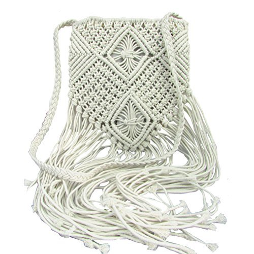 Donalworld Women Tassel Shoulder Bag Bohemian Beach Crochet Messenger Bags White