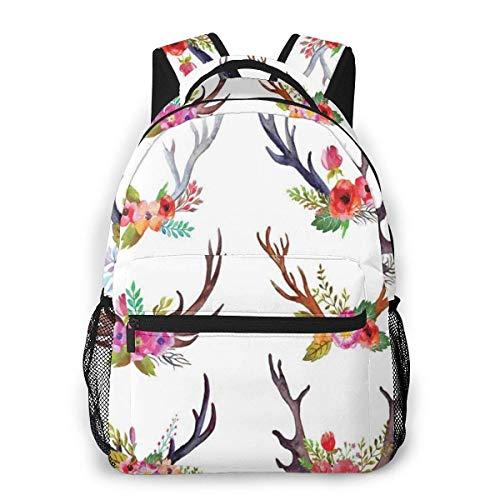 Lawenp School Backpacks Deer Horns Bouquet Flowers Bloom Fun Springtime Garden Branches Work of Art Print 1 for Teen Girls&Boys 16 Inch Student Bookbags Laptop Casual Rucksack