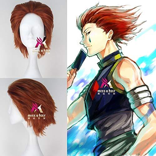Japanische Anime Hunter X Hunter Hisoka Cosplay Perücke Mann Rollenspiel Orange gekämmte kurze Haare Hisoka Movie TV Perücke + Perücke Kappe