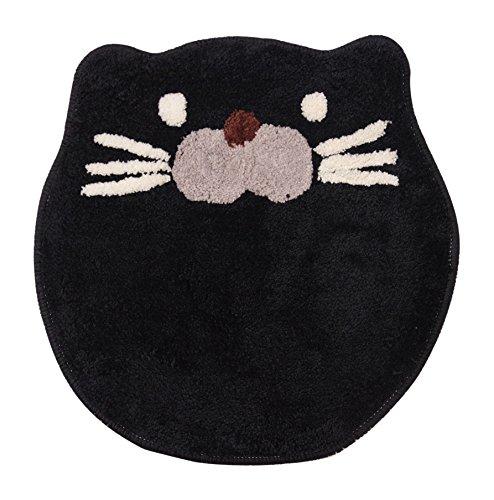 イケヒコ バスマット 洗える マット アニマル 猫 ネコ 動物マット ねこ ブラック 約40cm丸 裏:滑りにくい加工 #3430709
