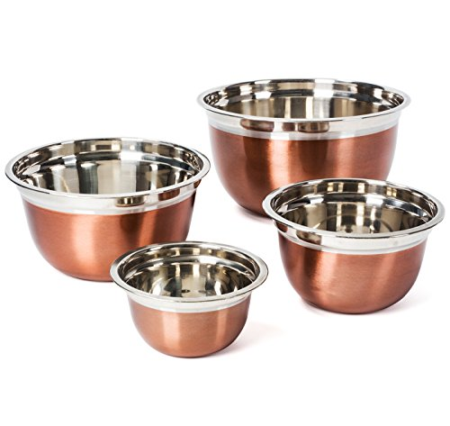 Colleta Home Stainless Steel Mixing Bowls-4 Pc set- Stackable Nesting Bowls - Polished Matte Finish - Cookware Set