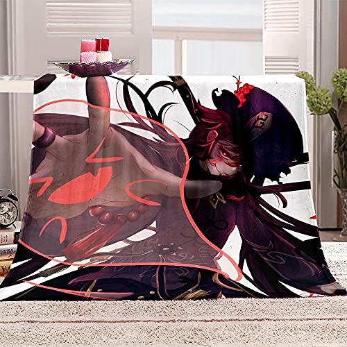 Totots HU Tao Lambswool Coperte,Genshin Impact Anime Coperta Quadrata,Coperta in Poliestere,Stampa del Fumetto Coperta Aria condizionata,Coperta di Divano casa,Coperta da Viaggio Portatile