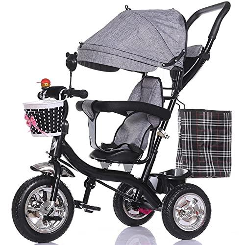NUBAO Triciclo plegable para niños de 6 meses a 5 años de edad con toldo extraíble resistente a la intemperie (color: azul) triciclos para niños de 1 a 3 años