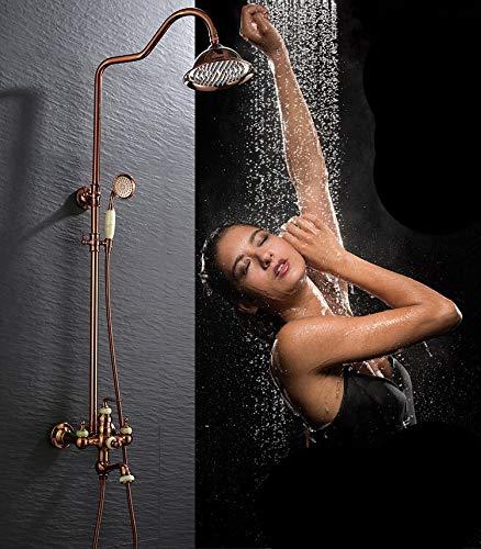 YXNN Sistema de ducha bronce latón baño lluvia cabeza grifo lujo lluvia mezclador ducha sólido desviador doble conjunto montado en la pared válvula cuerpo y ajuste
