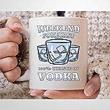 Weekend Forecast 100% Chance of Vodka Taza de café divertida para beber vodka taza de té alcohólico para hombres y mujeres, taza de vodka