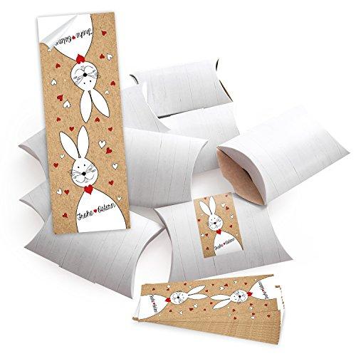 10 kleine Geschenkboxen Holz Optik weiß 14,5 x 10,5 cm ca. 3 cm + 10 Banderolen Osteraufkleber 5 x 15 cm Ostern Osterhase rot weiß Herz Verpackung Aufkleber Frohe Ostern zum Befüllen