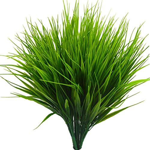 Beebel 6Pcs 15' Artificial Plastic Wheat Grass Faux Shrubs Simulation Greenery Plants Indoor Outside Home Garden Office Verandah Wedding Décor