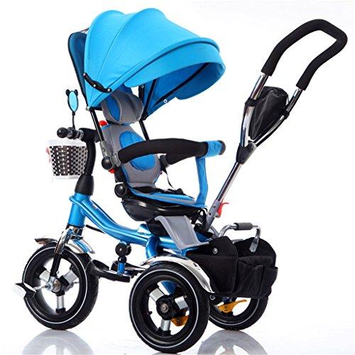 Patrulla de la pata del triciclo 4-in-1 para niños, bicicleta de la carretilla de los niños de la bicicleta de empuje multifuncional para el bebé Bici de la rueda de 3 con el toldo de la Anti-ULTRAVIO