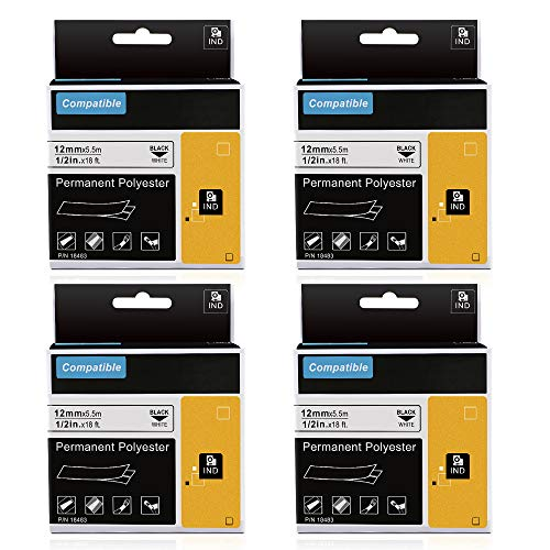 Compatible Industrial Label Tapes Replacement for Dymo 18483 1/2Inch Permanent Polyester Label Tapes, for DYMO Rhino 4200,5000,5200,6000,6500 Industrial Label Maker, Black on White,18Feet, 4 Pack