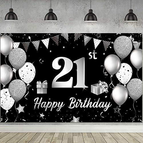 Happy 21th Birthday Hintergrund Banner Extra Große Stoff 21. Geburtstag Zeichen Poster Fotografie Hintergrund Banner für 21. Geburtstag Jahrestag Party Dekoration Lieferung, 72,8 x 43,3 Zoll