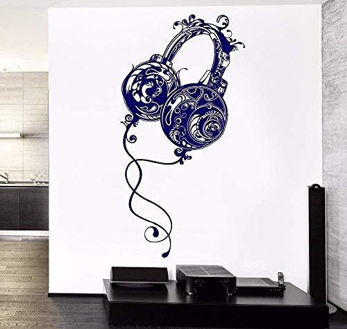 Pegatinas De Pared Vinilo Arte Extraíble Habitación Decoración Música Auriculares Rock Pop Canción Cartel 57X113cm
