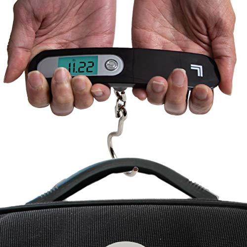 SHARPER IMAGE Digital Hanging Luggage Scale, Best Portable Compact Hand Scale for Travel, Weigh Your Suitcase or Carry-on Anywhere, Measure Baggage Weight up to 110 lb / 50 kg, with Auto Off Feature