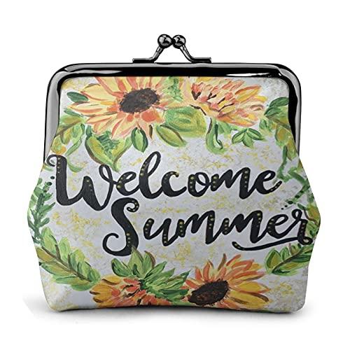 Summer Welcome - Cartera de cuero para hombre y mujer, con cierre fino, bolsa de moneda, bolsa de moneda, bolsa de moneda, bolsa de dinero, bolsa pequeña de viaje