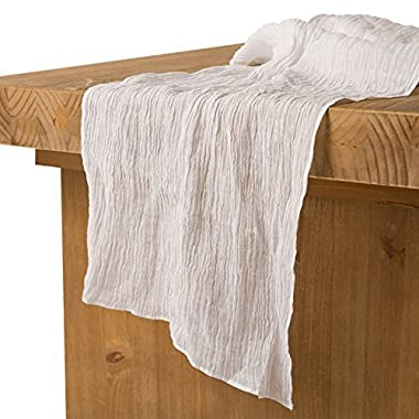 Ling's moment 17  Wide Bohemian Crinkled Ramie Cotton Blend Table Runner White Sheer Gauze Tablecloth Cheesecloth Table Runner for Woodland Greenery Wedding Party Bridal Shower Decor