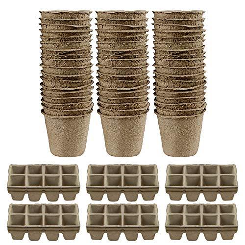 30PCS 8x8cm ronde ronde Pots de Tourbe + 10PCS 8-Slot Biodégradable semences Starter Pots pour Home Jardin Fleurs Fruits Herbes Plants De Légumes