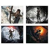 Crystal Shadow of Tomb Raider – Set von 4 (8 x 10 cm) Rise of Lara Croft – Videospiel Wanddekoration