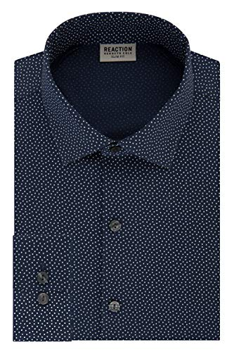 Kenneth Cole REACTION Men's Technicole Slim Fit Stretch Print Spread Collar Dress Shirt, Night Blue, 18' Neck 36'-37' Sleeve