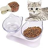 Bangcool Comedero Doble Transparente para Mascotas,Cuenco Elevado para Alimentos Comederos Gatos Elevado Comederos para Perros Gatos