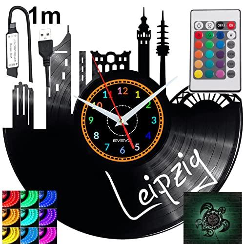 Leipzig - Reloj de pared con luz LED RGB para mando a distancia, disco de vinilo, decorativo para regalo de cumpleaños