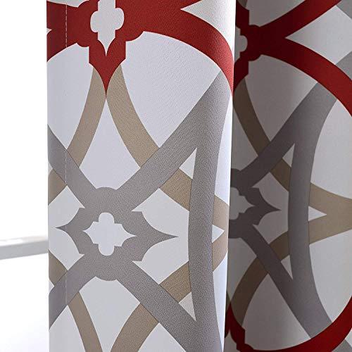 DriftAway Alexander Spiral Geo Trellis Pattern Window Curtain Valance Rod Pocket 52 Inch by 18 Inch Plus 2 Inch Header Red and Gray 1 Pack