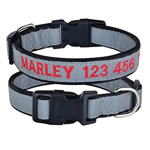 Aiong Collar para Mascotas, Collares Reflectantes para Perros Collar Luminoso para Perros Collar Personalizado Nombre Personalizado Número de teléfono