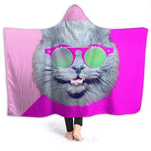 AEMAPE Gato en Elegantes Gafas de Sol Vintage Manta con Capucha Mantas cómodas Manta de Lana para niños 60x50in