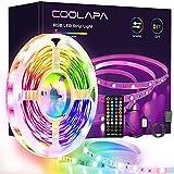 Tira LED 6M, COOLAPA RGB Luces LED, Sync con Música, Tiras LED RGB 5050 12V, Control Remoto IR de 40 Teclas para Decoración de Casa, Jardín, Fiesta, Techo, Hogar, Navidad(6M)