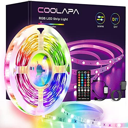 6M LED Strip, COOLAPA LED Streifen Farbwechsel, 5050 RGB Led Light, LED Band mit IR Fernbedienung, Sync zur Musik, für die Beleuchtung von Haus, Party, Küche, 1 Rollen von 6m
