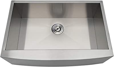 Kingston Brass GKUSF30209 Uptowne Stainless Steel Single Bowl Farmhouse Kitchen Sink, Brushed