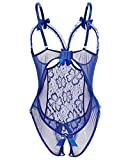 QS_Go Pijamas de Encaje Bodysuit Atractivo Ropa Lencería Halter Pijama Encaje y Tul Mujer Pijama Camisón Ropa Interior Encaje de Las Mujeres Ropa Interior Ropa Interior Femenina (Azul, L)
