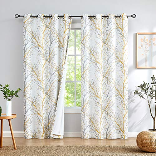 "Fmfunctex Yellow Grey Full Blackout Curtains for Bedroom 96 inches Modern White Tree Curtain Panels for Living Room 50""W Branch Print Curtains with Liner 1 Panel Grommet Top"