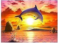 大人のための番号によるDIYペイント初心者キャンバス抽象芸術アクリルキットのために生きるサンセットクジラ-40x50cm