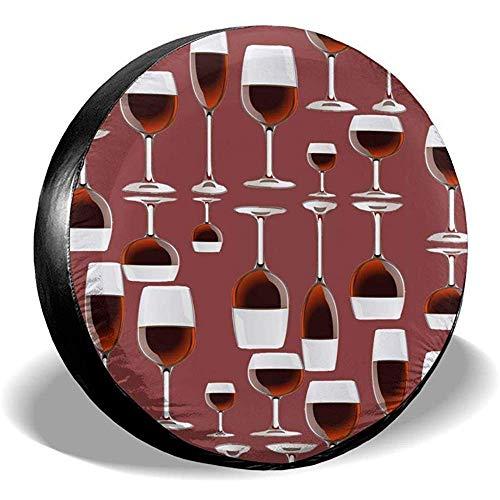 Drew Tours Wein-Reifen-Abdeckungs-Polyester-wasserdichte Universalersatzrad-Reifen-Abdeckung gepasst für Anhänger Rv SUV und viele Träger
