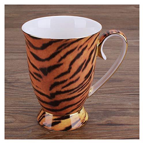 Tazas de cerámica 300 ml Moda Cerámica Café Café Natural Taza de Porcelana Leche Desayuno Taza Taza Taza Taza Botella de Agua Copa de Espresso (Capacity : 300ML, Color : Tiger)