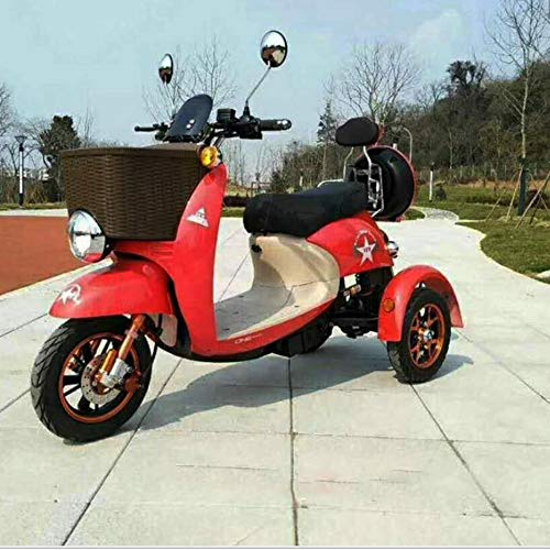 Lyanh Erwachsene Elektro-Dreirad Outdoor-Freizeit ältere Behinderte Reise Roller 48V20A Lithiumbatterie Maximallast 180kg EIN Tasten-Fernbedienung,Rot