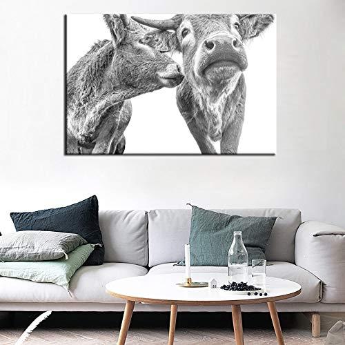 WAGUZA BauernhofRinder Tier Kuh Leinwand Kunstdrucke Gemälde Wand Kunst Bild Plakat Dekoration für Wohnzimmer