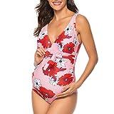 Malbaba Traje de baño de maternidad de UNA pieza, con Cuello en V y trajes de baño con pliegues Monokini fruncido Traje de baño Retro Red