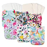 Babygoal Baby Cloth Diapers for Girls, One Size Reusable Washable Pocket Nappy, 6pcs Diapers+ 6pcs Microfiber...