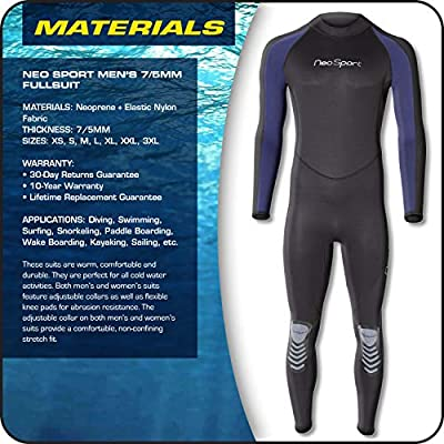 NeoSport Wetsuits Men's Premium Neoprene 7/5 mm Full Suit, Blue Trim, XX-Larg - Diving, Snorkeling & Wakeboarding