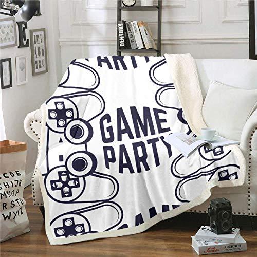 N \ A Gamer Manta negra Gamepad Manta de felpa con zona controladora para videojuegos, juegos, decoración para niños, niños, adolescentes, gemelos, para sofá, cama