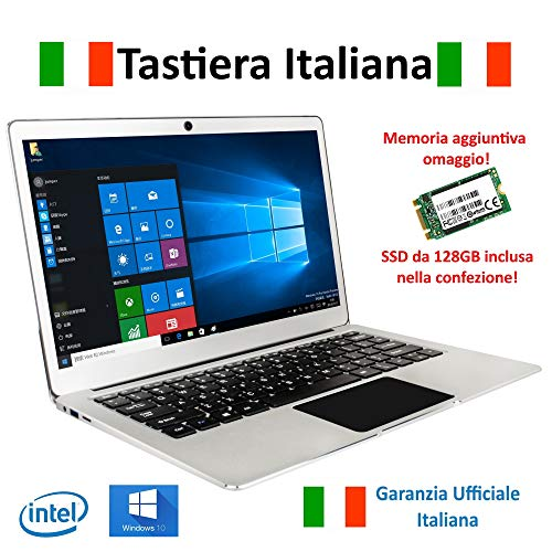 "Notebook Jumper Ezbook 3Pro Tastiera e Garanzia Italiana 13.3"" Full HD 6GB RAM + 192GB Intel Apollo Lake N3450 Quad Core, Windows 10"