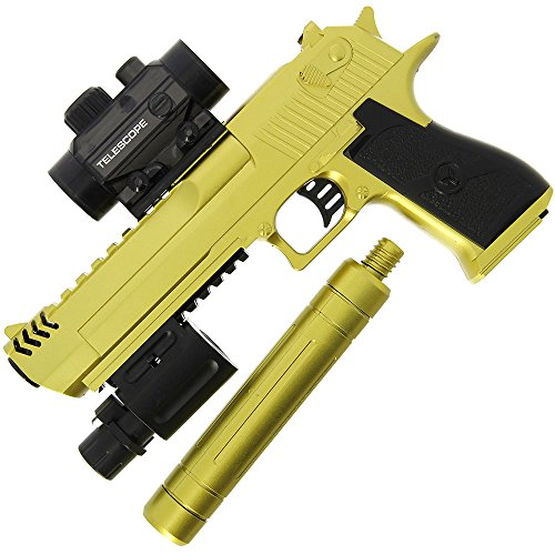 GELSOFT Water Gell Ball Crystal Blaster Pistol Automatic Rapid Fire Gold Eagle Gun