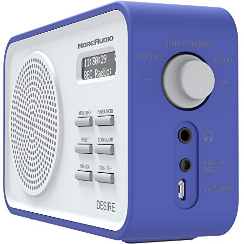 AZATOM Desire DAB+ DAB & FM Digital Radio - Dual Alarms - Clock - Portable - AUX - Headphone - Rechargeable battery 18hrs playtime & 60 Presets (Blue)