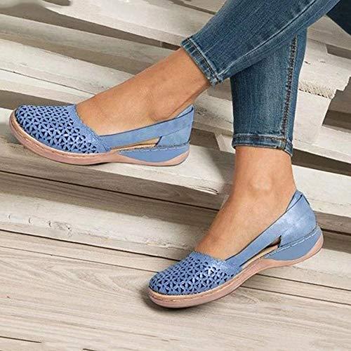 Mujer Sandalias de Verano, Puntera Redonda con Huecos Sandalias Piel Sintética Flor Vintage Hebilla Zapatos Casual para Sandalias,05,41